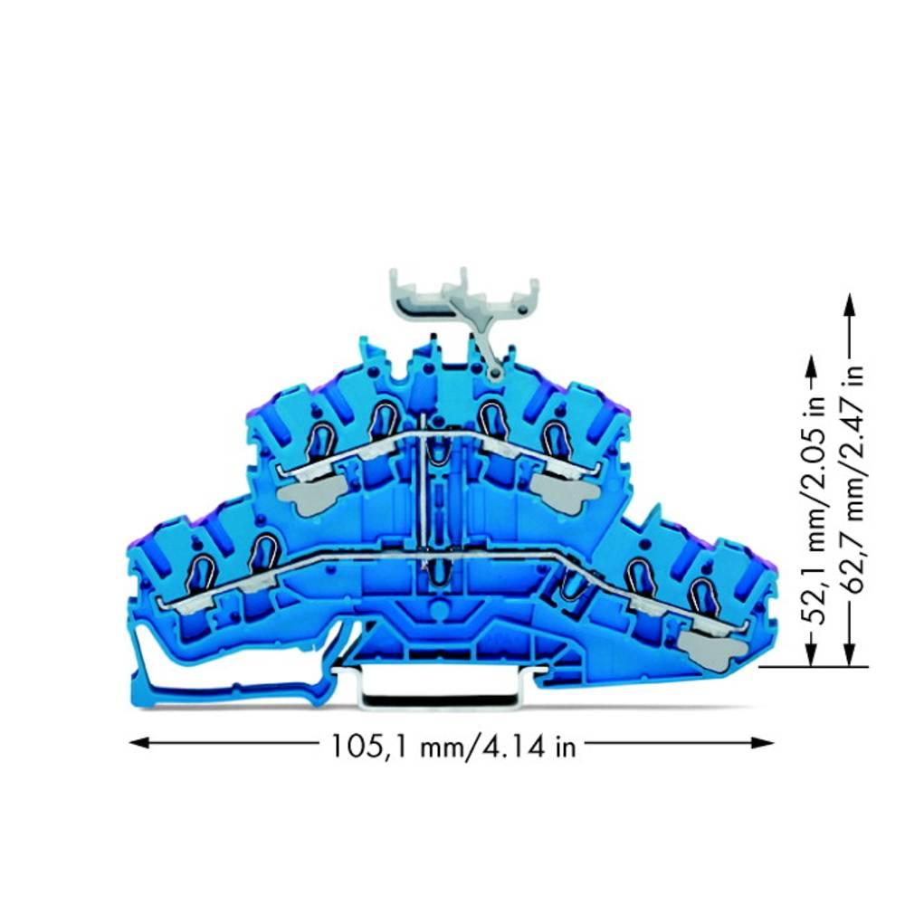 Dobbeltlags-gennemgangsklemme 5.20 mm Trækfjeder Belægning: N Blå WAGO 2002-2439 50 stk