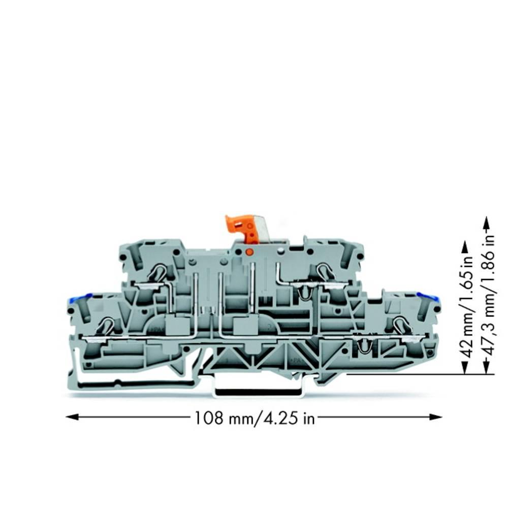 Dobbeltlags-skilleklemme 5.20 mm Trækfjeder Belægning: N, L Grå WAGO 2002-2972 50 stk