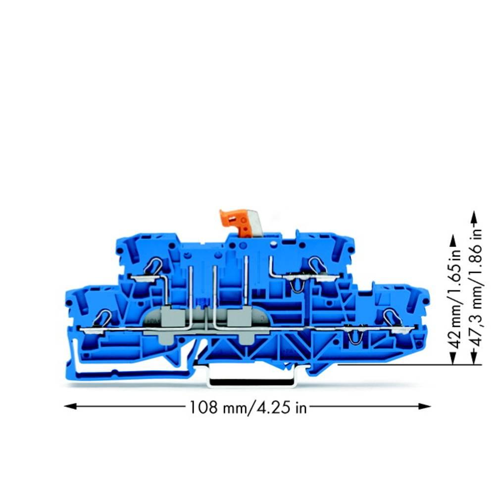 Dobbeltlags-skilleklemme 5.20 mm Trækfjeder Belægning: N, N Blå WAGO 2002-2974 50 stk
