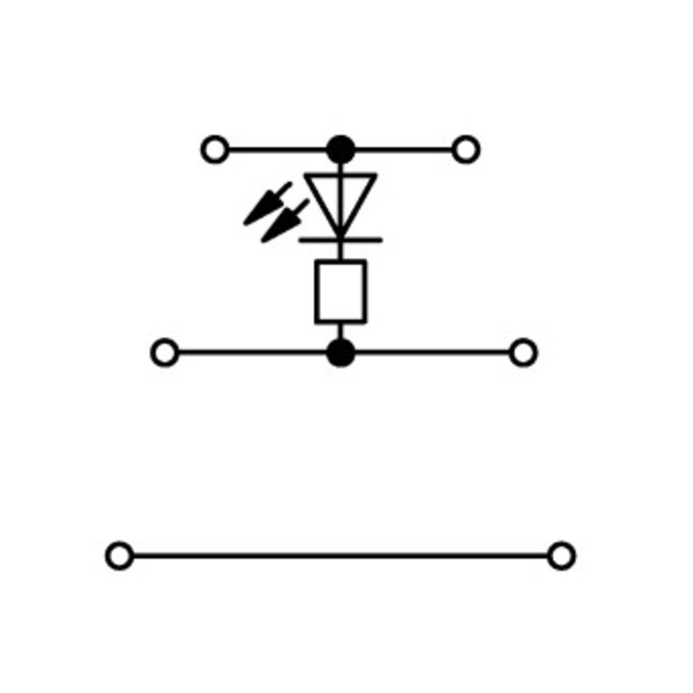 Trippel-LED-klemme 5 mm Trækfjeder Belægning: L Grå WAGO 870-593/281-413 50 stk