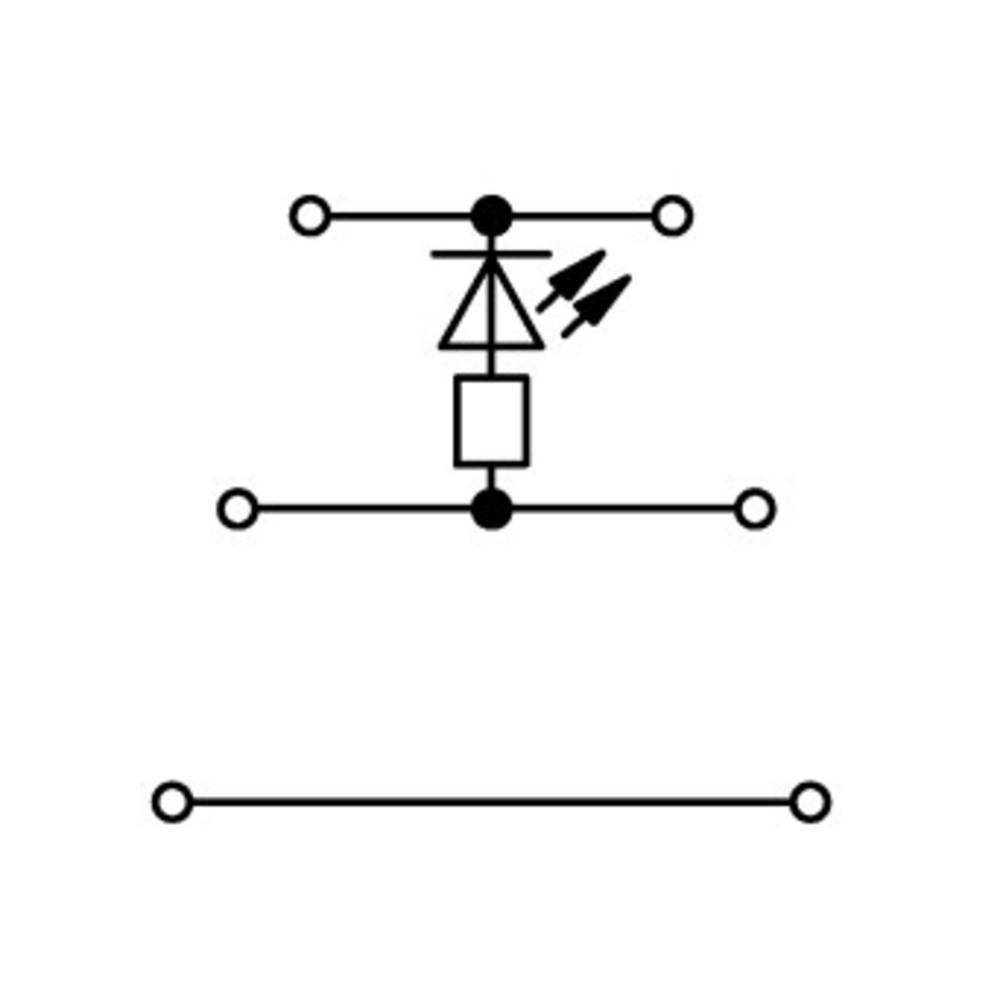 Trippel-LED-klemme 5 mm Trækfjeder Belægning: L Grå WAGO 870-593/281-434 50 stk