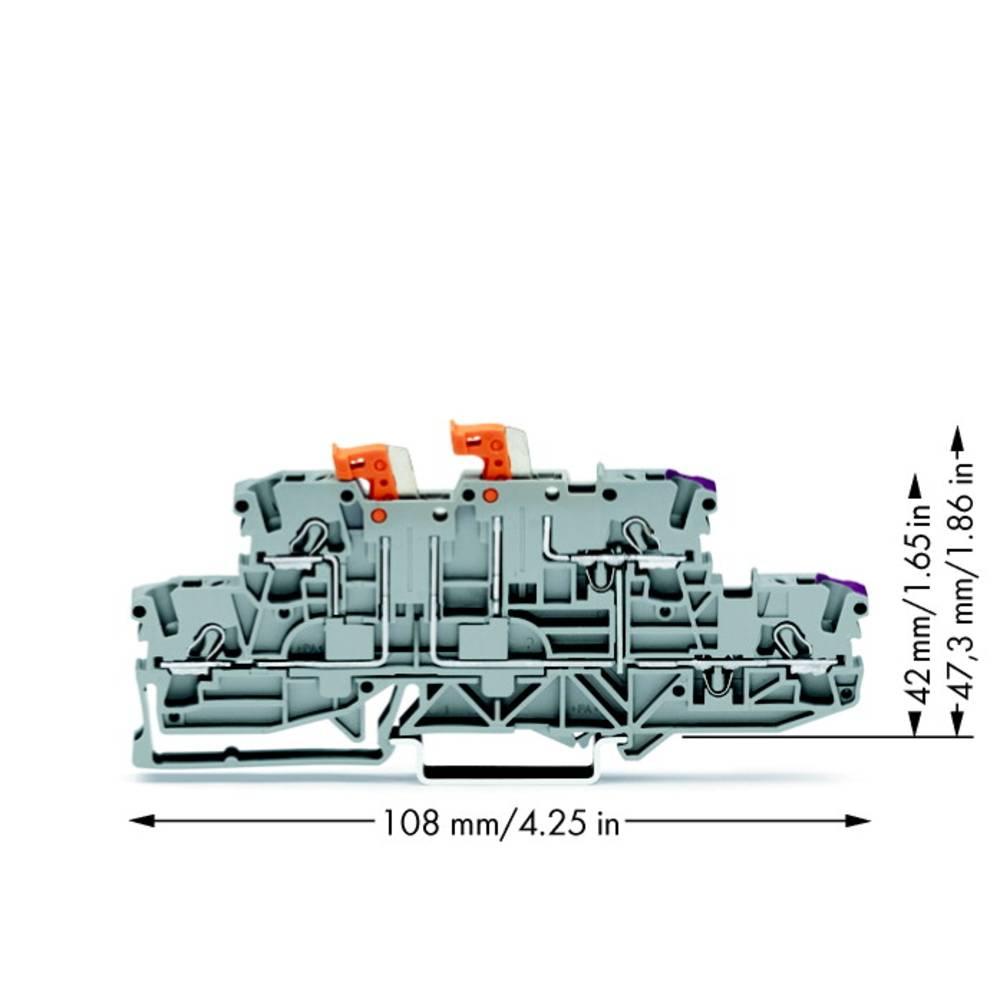 Dobbeltlags-skilleklemme 5.20 mm Trækfjeder Belægning: L, L Grå WAGO 2002-2958 50 stk