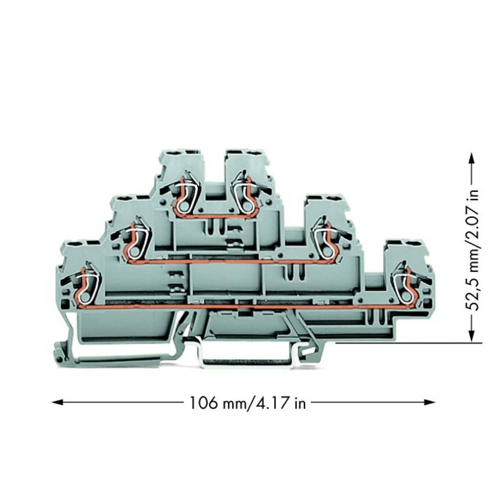 Trippel-gennemgangsklemme 5 mm Trækfjeder Belægning: L, L, L Grå WAGO 870-551 50 stk