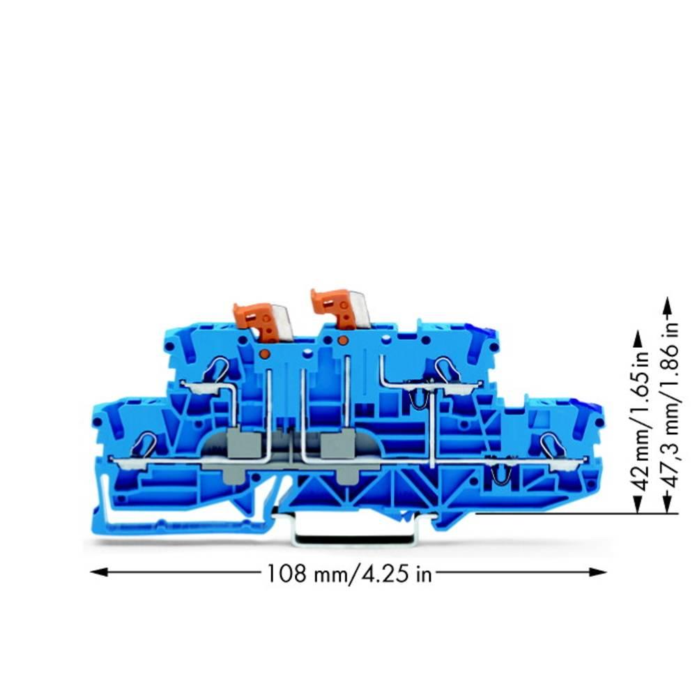 Dobbeltlags-skilleklemme 5.20 mm Trækfjeder Belægning: N, N Blå WAGO 2002-2959 50 stk