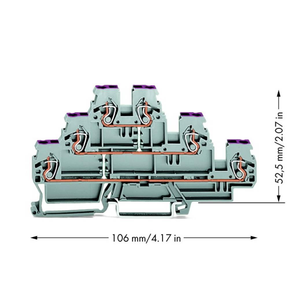 Trippel-gennemgangsklemme 5 mm Trækfjeder Belægning: L Grå WAGO 870-556 50 stk
