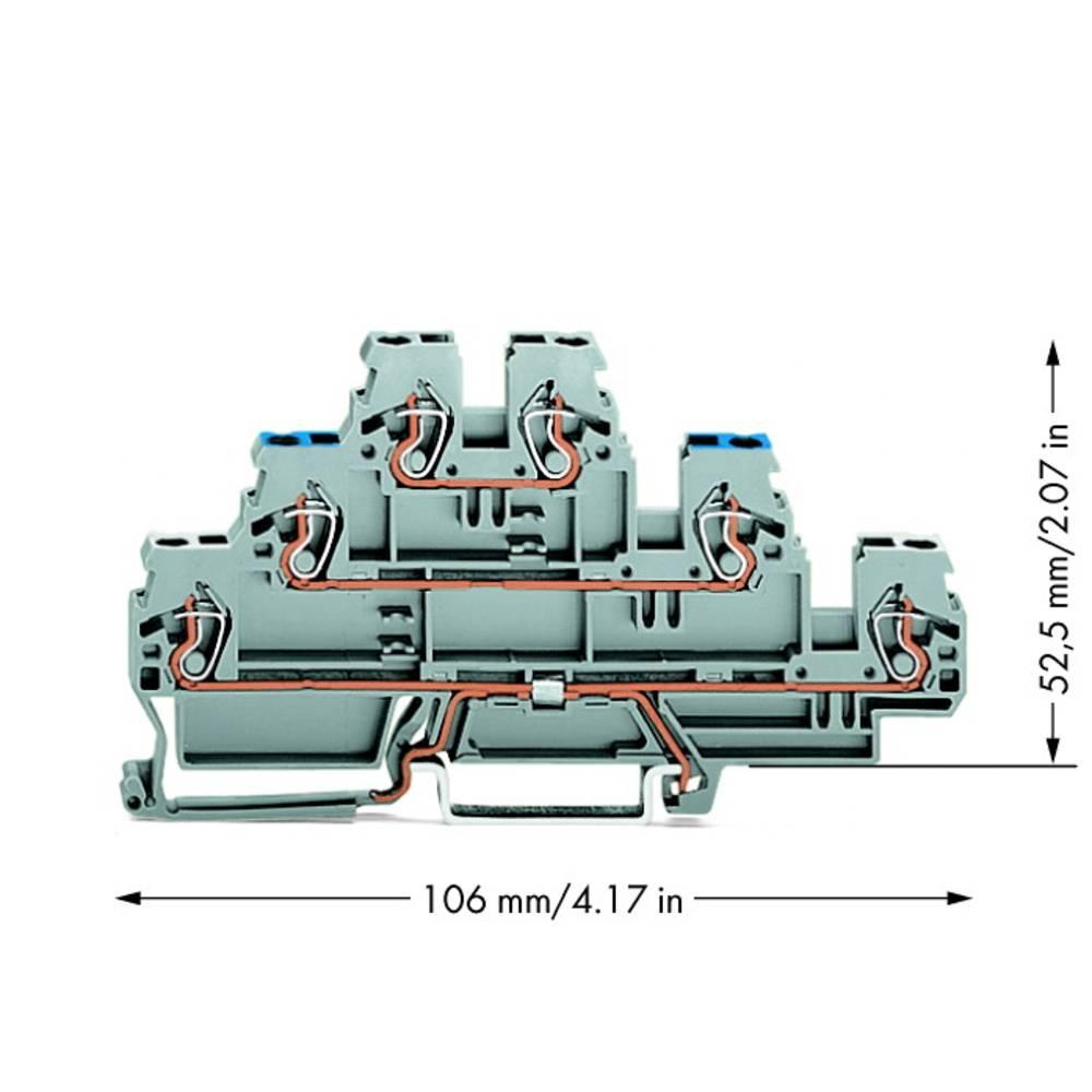 Trippel-skærmlederklemme 5 mm Trækfjeder Belægning: N, L Grå WAGO 870-558 50 stk
