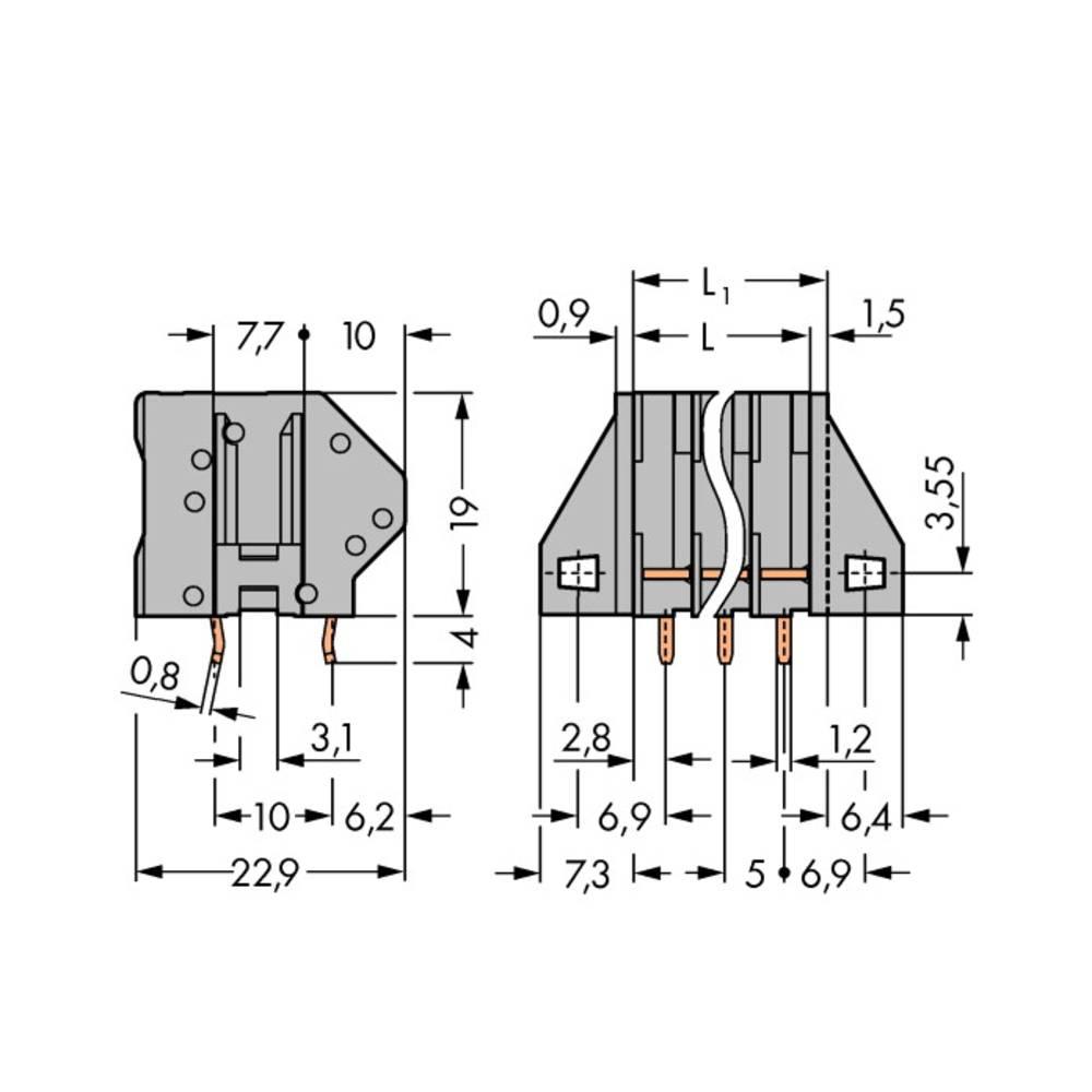 Fjederkraftsklemmeblok WAGO 0.50 mm² Poltal 8 60 stk