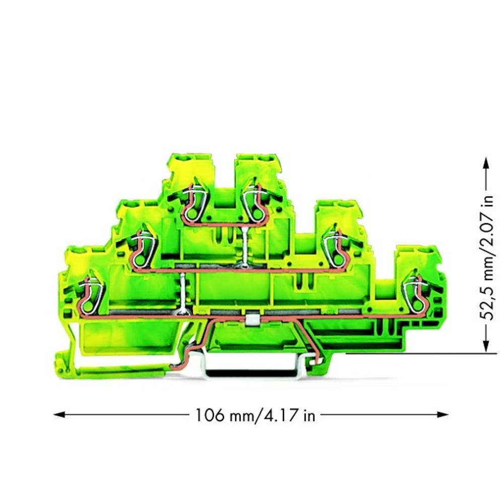 Trippel-beskyttelseslederklemme 5 mm Trækfjeder Belægning: Terre Grøn-gul WAGO 870-557 50 stk