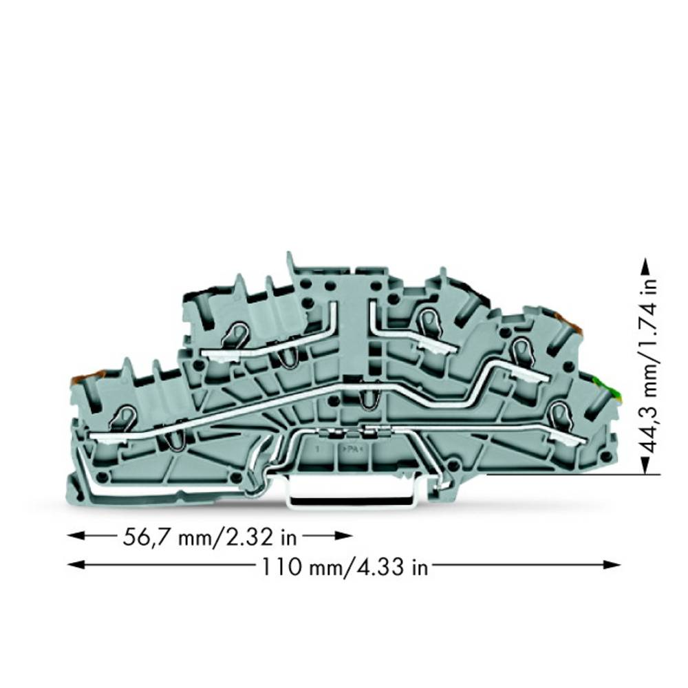 installations-etageklemme 5.20 mm Trækfjeder Grå WAGO 2003-6643 50 stk