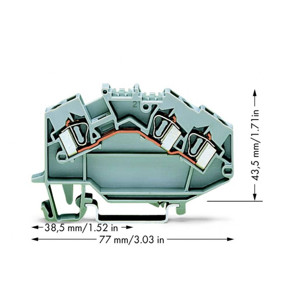 Gennemgangsklemme 6 mm Trækfjeder Belægning: L Grå WAGO 781-631 50 stk