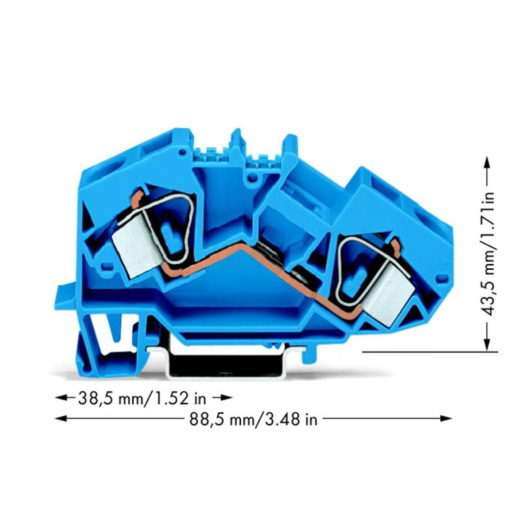 Gennemgangsklemme 12 mm Trækfjeder Belægning: N Blå WAGO 783-604 25 stk