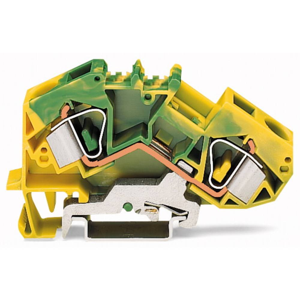 Jordklemme 12 mm Trækfjeder Belægning: Terre Grøn-gul WAGO 783-607/999-950 25 stk