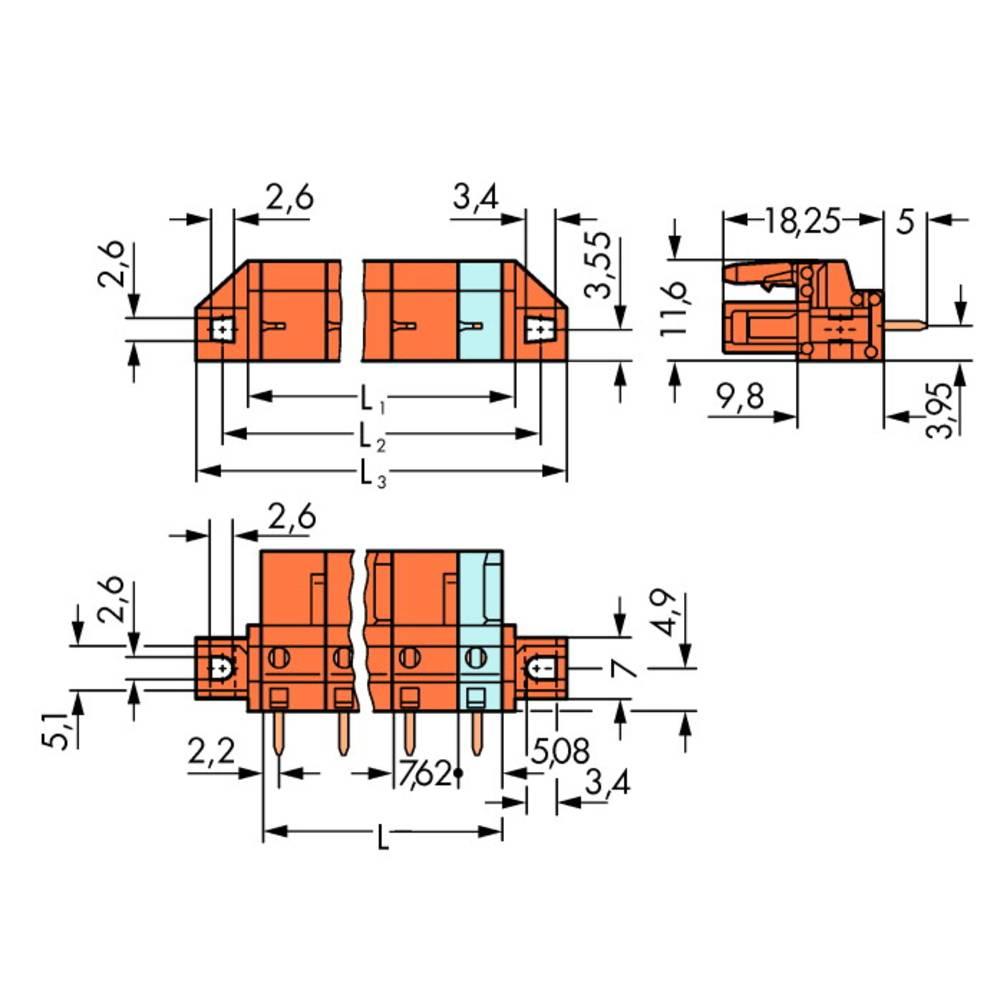 Tilslutningskabinet-printplade 232 (value.1360685) Samlet antal poler 5 WAGO 232-765/031-000 Rastermål: 7.62 mm 50 stk