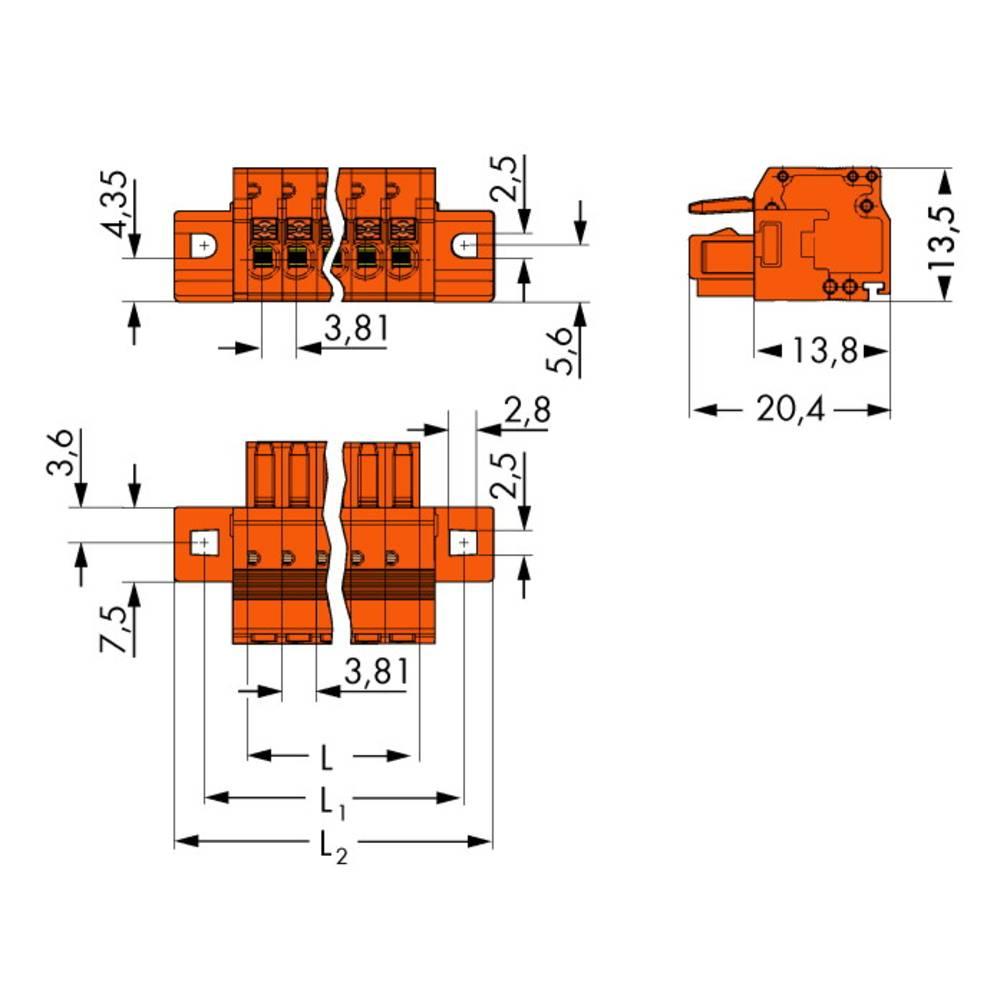 Tilslutningskabinet-kabel 2734 (value.1360635) Samlet antal poler 3 WAGO 2734-203/031-000 Rastermål: 3.81 mm 100 stk