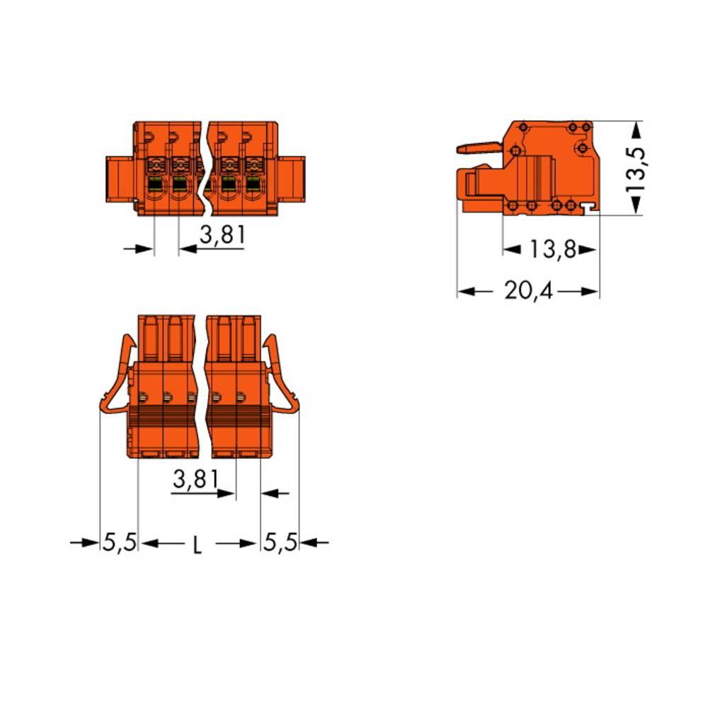 Tilslutningskabinet-kabel 2734 (value.1360635) Samlet antal poler 12 WAGO 2734-212/037-000 Rastermål: 3.81 mm 25 stk