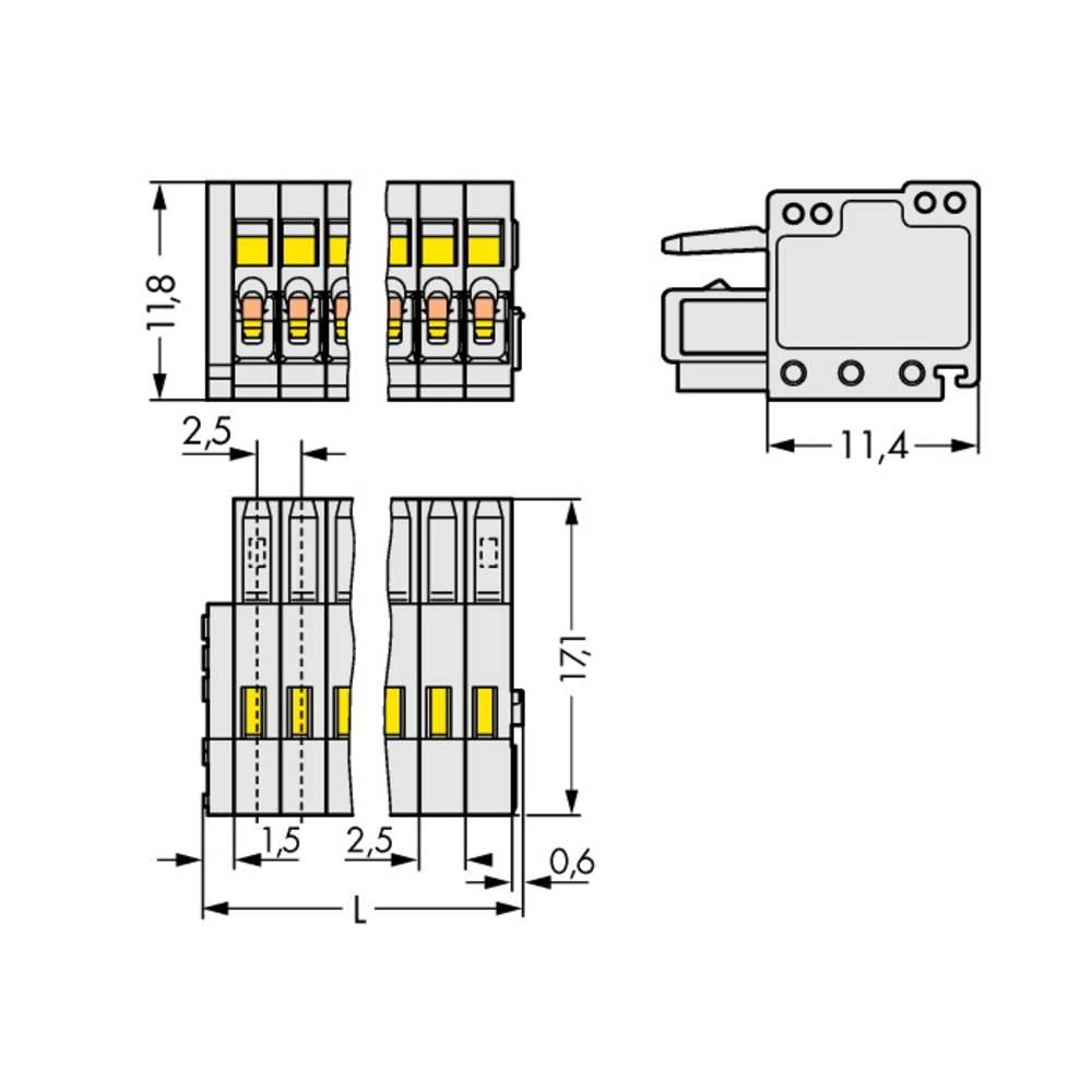 Tilslutningskabinet-kabel 733 Samlet antal poler 8 WAGO 733-108/000-9037 Rastermål: 2.50 mm 100 stk