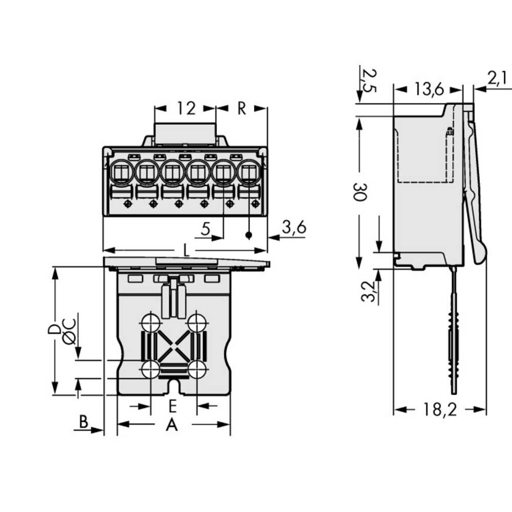 Stiftkabinet-printplade 2092 (value.1360466) Samlet antal poler 4 WAGO 2092-1504/002-000 Rastermål: 5 mm 50 stk