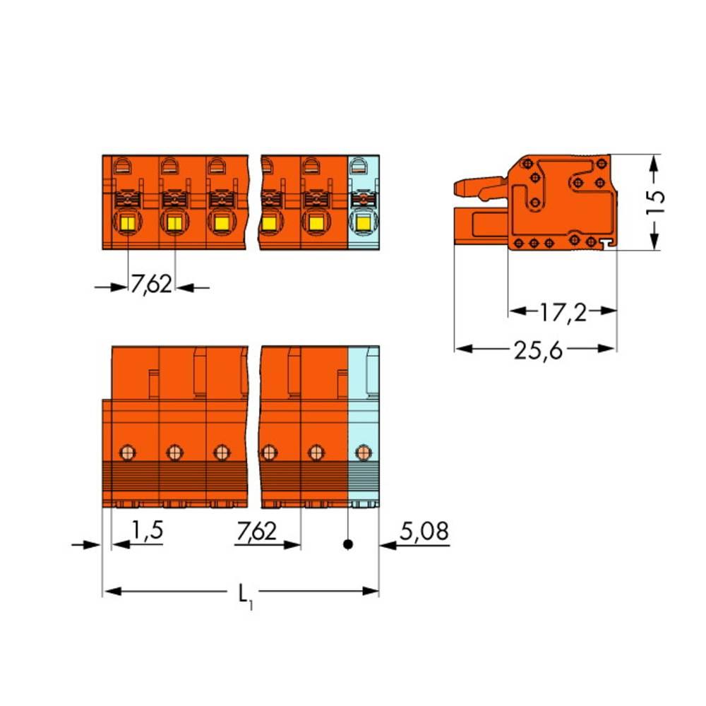 Tilslutningskabinet-kabel 2231 (value.1360950) Samlet antal poler 4 WAGO 2231-704/026-000 Rastermål: 7.62 mm 50 stk