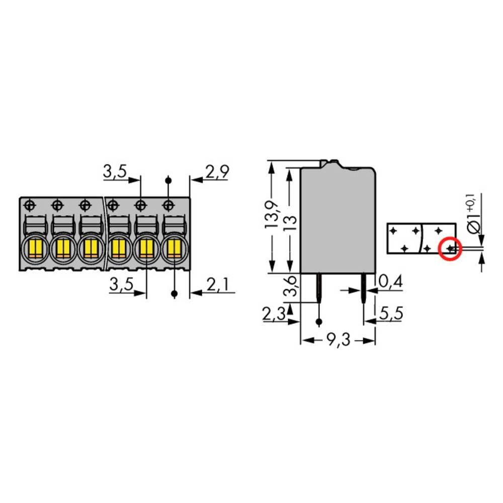 Fjederkraftsklemmeblok WAGO 1 mm² Poltal 8 Grå 90 stk