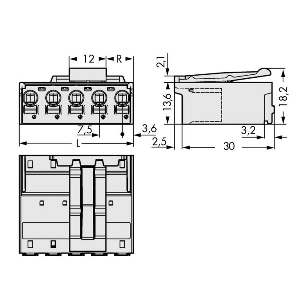 Stiftkabinet-printplade 2092 (value.1360466) Samlet antal poler 2 WAGO 2092-3522/002-000 Rastermål: 7.50 mm 100 stk