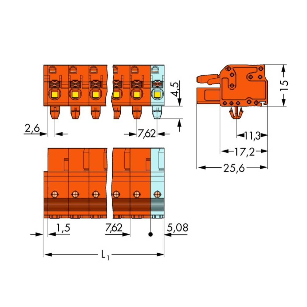 Tilslutningskabinet-kabel 2231 Samlet antal poler 12 WAGO 2231-712/008-000 Rastermål: 7.62 mm 25 stk