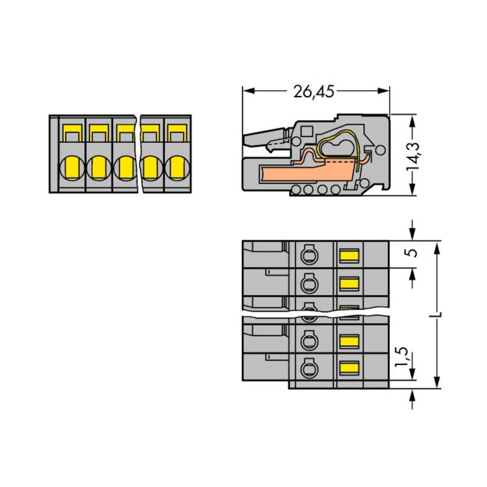 Tilslutningskabinet-kabel 231 (value.1360880) Samlet antal poler 4 WAGO 231-104/026-000 Rastermål: 5 mm 100 stk