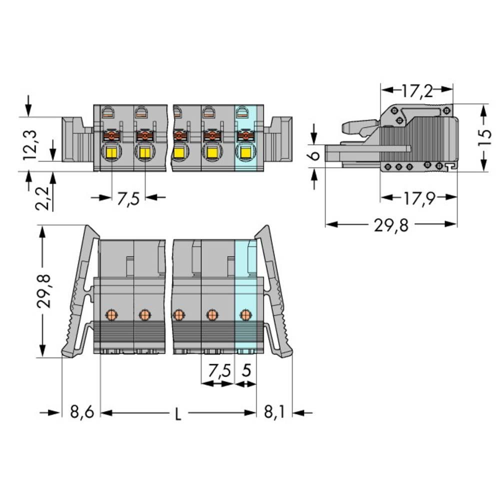 Tilslutningskabinet-kabel 2231 (value.1360950) Samlet antal poler 5 WAGO 2231-205/037-000 Rastermål: 7.50 mm 50 stk