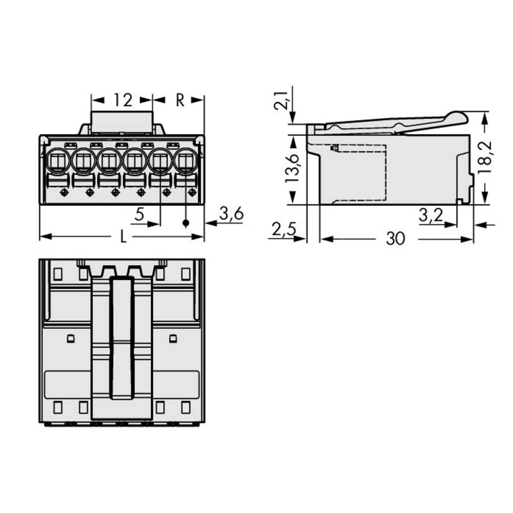 Stiftkabinet-printplade 2092 Samlet antal poler 2 WAGO 2092-1522/002-000 Rastermål: 5 mm 200 stk