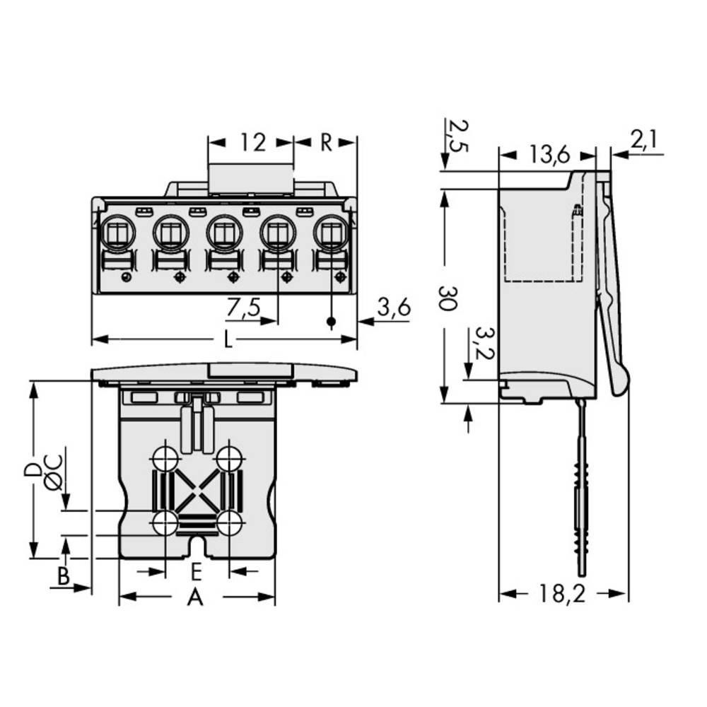 Stiftkabinet-printplade 2092 (value.1360466) Samlet antal poler 5 WAGO 2092-3505/002-000 Rastermål: 7.50 mm 50 stk