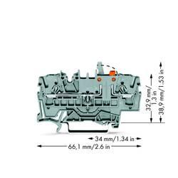 Skilleklemme 5.20 mm Trækfjeder Grå WAGO 2002-1671/401-000 50 stk
