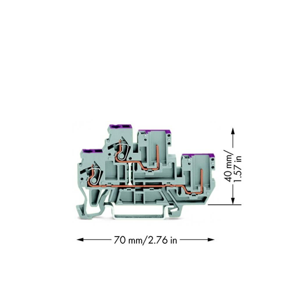 Dobbeltlags-basisklemme 5 mm Trækfjeder Belægning: L Grå WAGO 870-108 50 stk