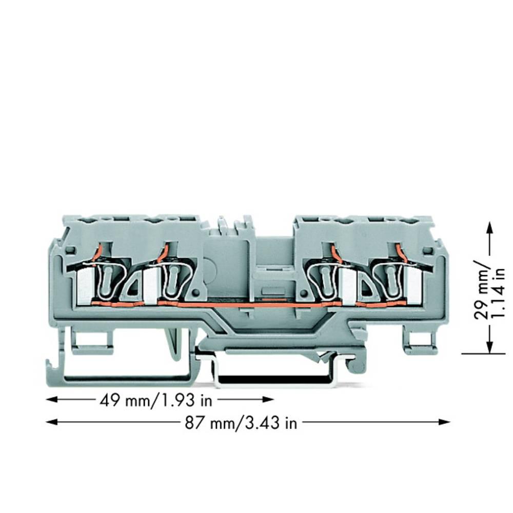 Gennemgangsklemme 5 mm Trækfjeder Belægning: L Grå WAGO 880-831 50 stk