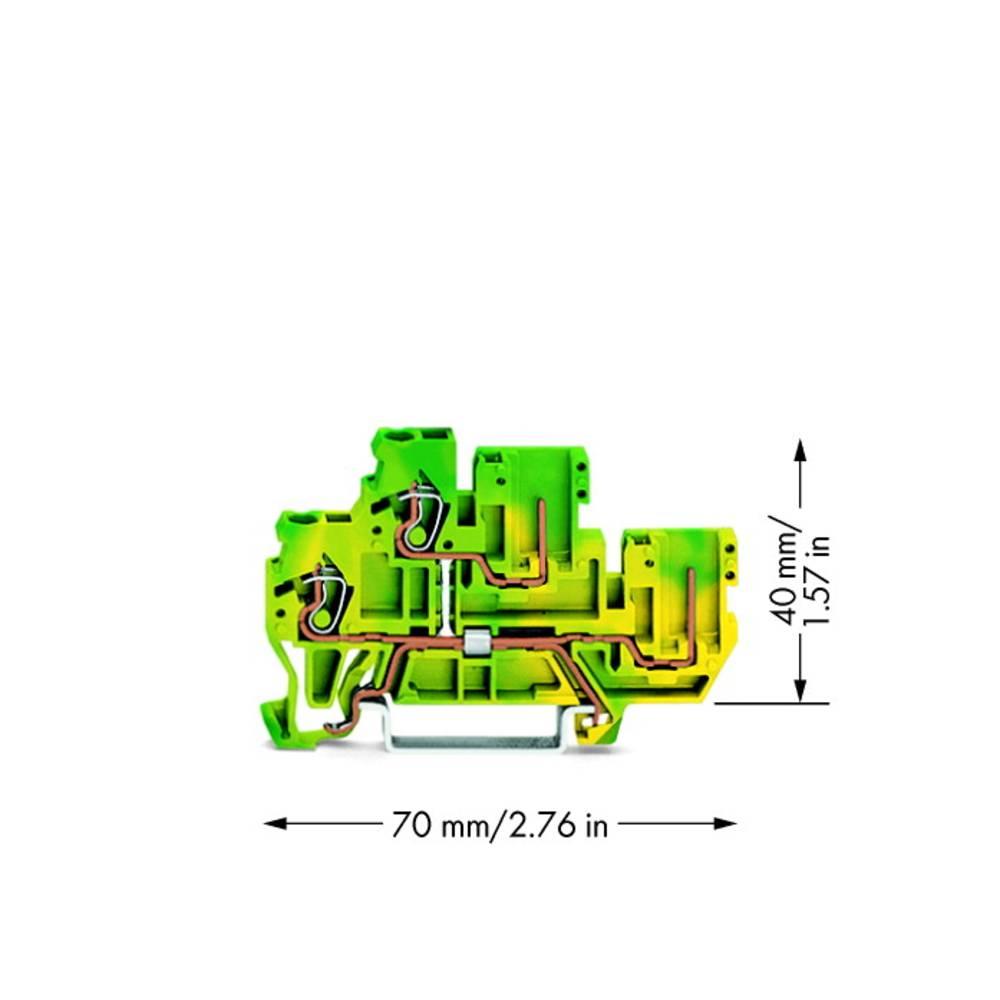 Dobbeltlags-basisklemme 5 mm Trækfjeder Belægning: Terre Grøn-gul WAGO 870-107 50 stk