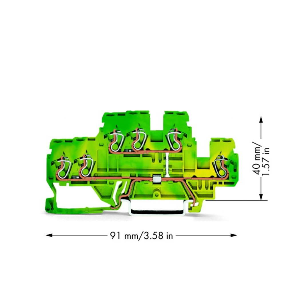 Dobbeltlags-beskyttelseslederklemme 5 mm Trækfjeder Belægning: Terre Grøn-gul WAGO 870-537 50 stk