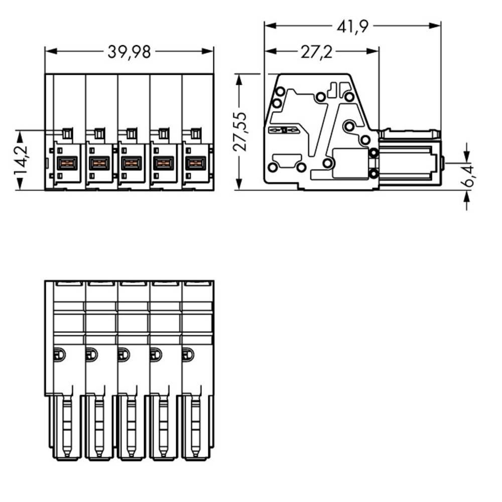 Tilslutningskabinet-kabel 831 Samlet antal poler 5 WAGO 831-3105/019-004 Rastermål: 7.62 mm 5 stk