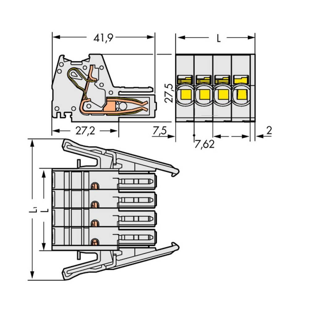 Tilslutningskabinet-kabel 831 (value.1361063) Samlet antal poler 5 WAGO 831-3105/037-000 Rastermål: 7.62 mm 12 stk