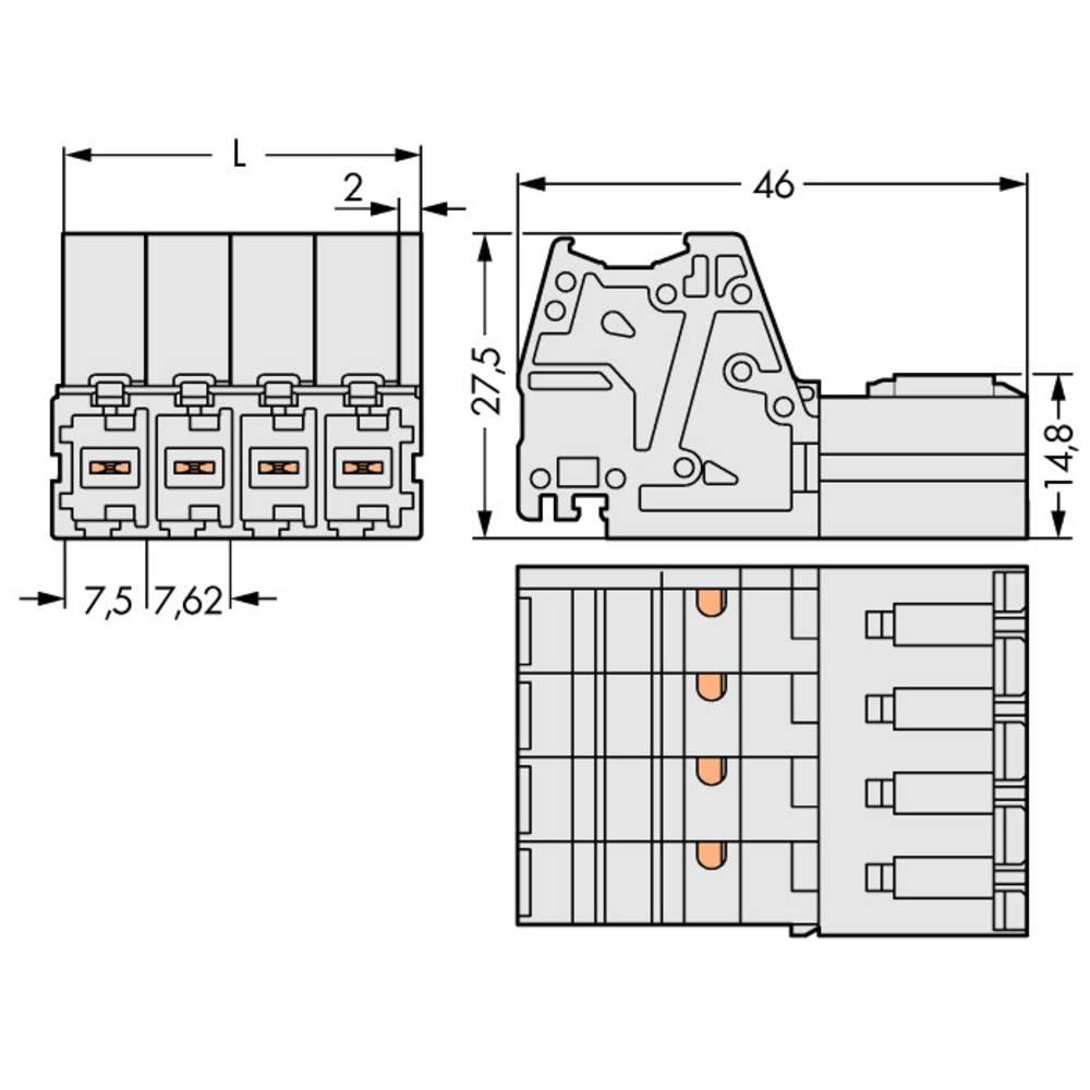 Tilslutningskabinet-kabel 831 (value.1361063) Samlet antal poler 2 WAGO 831-3202 Rastermål: 7.62 mm 48 stk