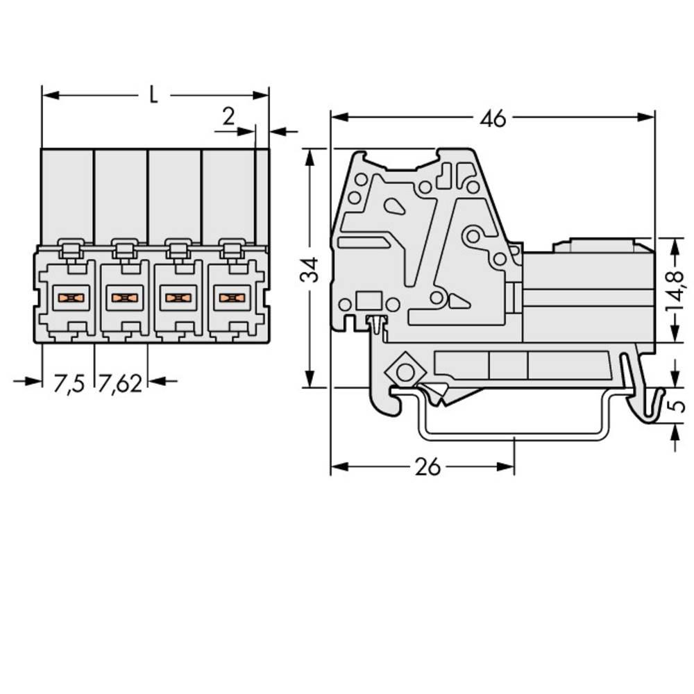 Tilslutningskabinet-kabel 831 (value.1361063) Samlet antal poler 3 WAGO 831-3203/007-000 Rastermål: 7.62 mm 48 stk