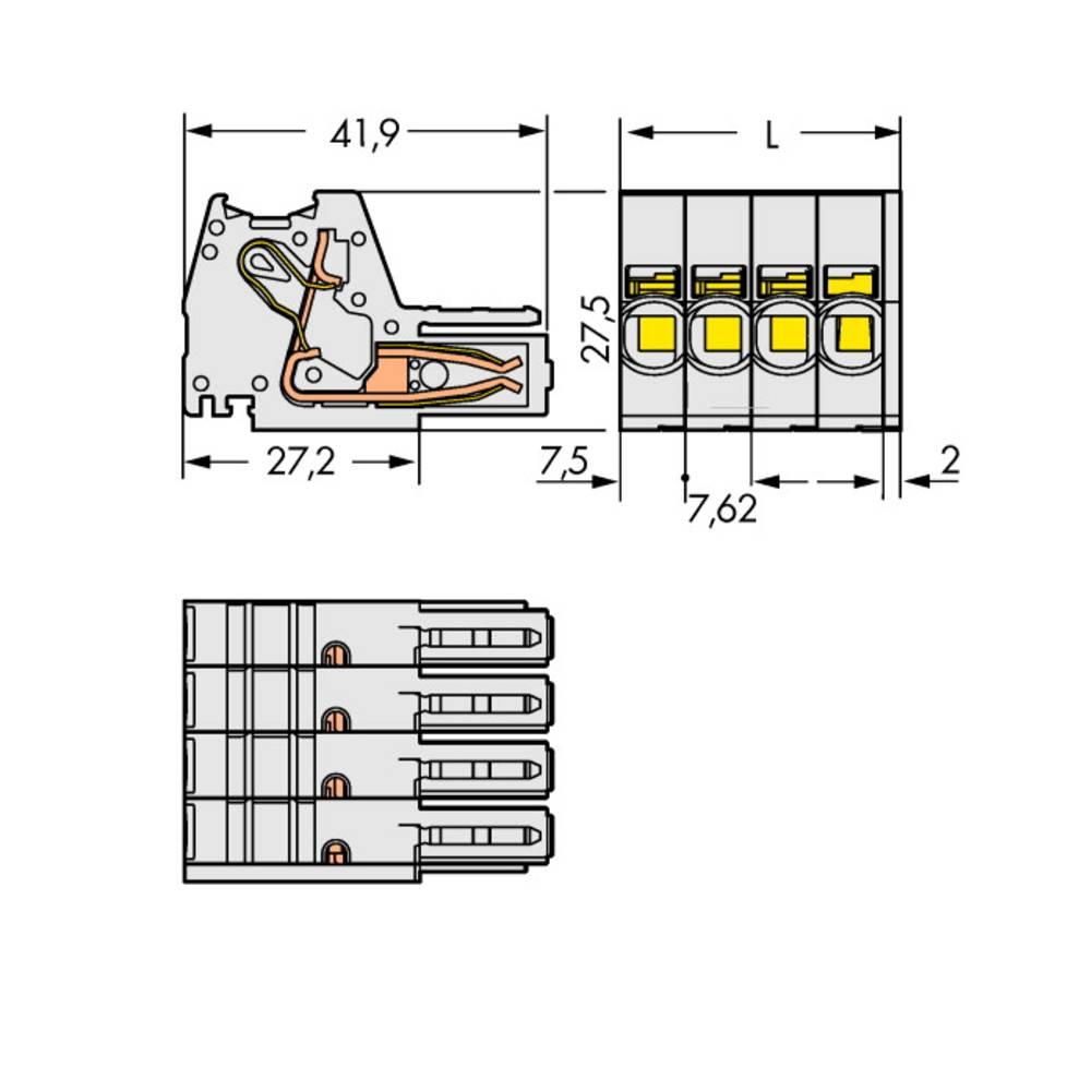 Tilslutningskabinet-kabel 831 (value.1361063) Samlet antal poler 7 WAGO 831-3107 Rastermål: 7.62 mm 12 stk