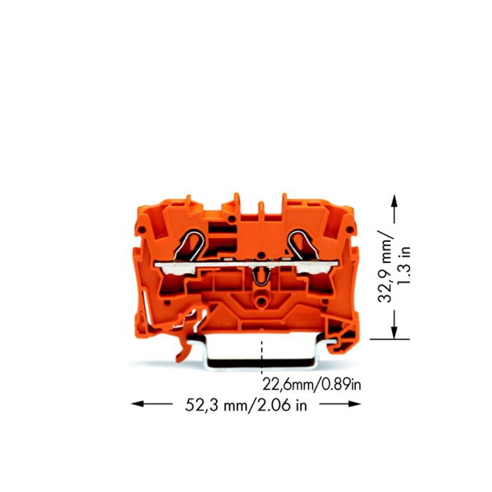 Gennemgangsklemme 6.20 mm Trækfjeder Orange WAGO 2004-1202 50 stk