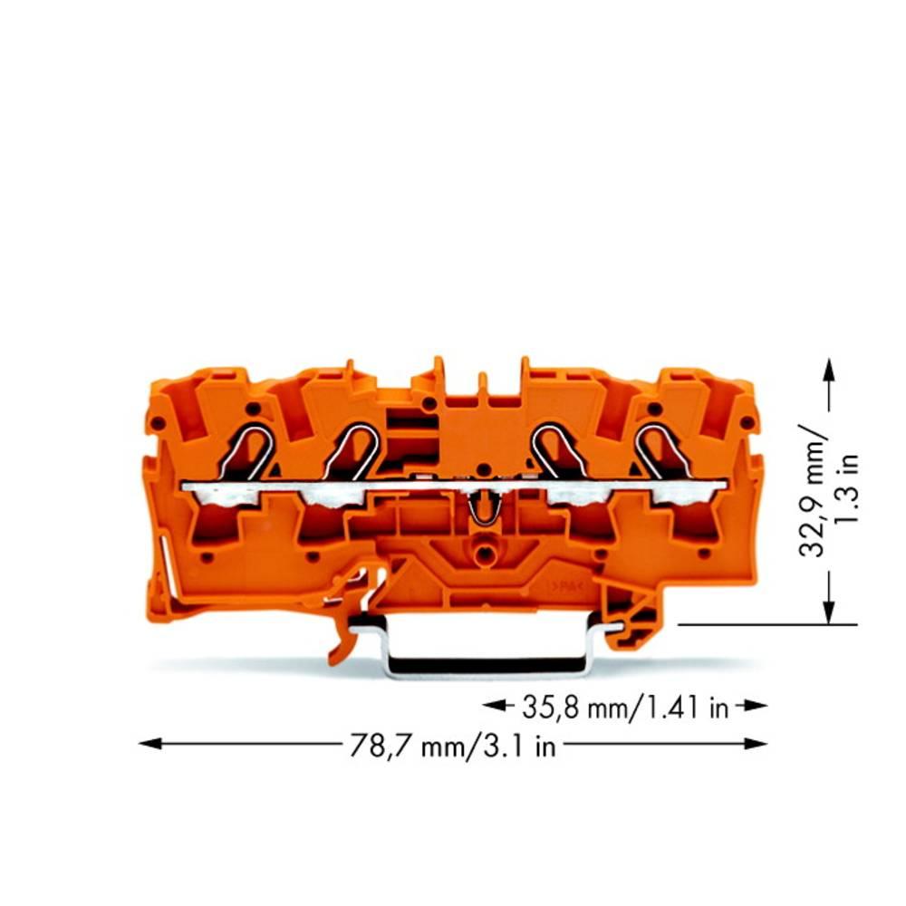 Gennemgangsklemme 6.20 mm Trækfjeder Orange WAGO 2004-1402 50 stk
