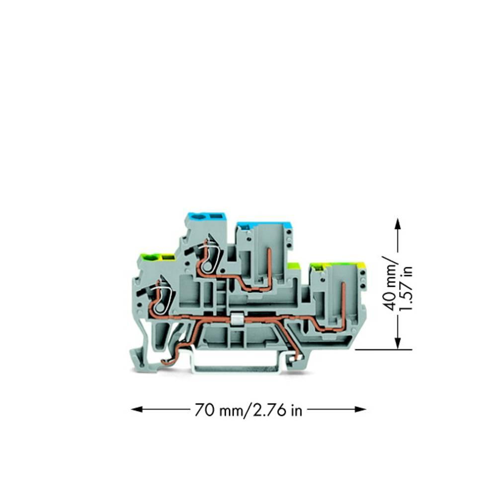 Dobbeltlags-basisklemme 5 mm Trækfjeder Belægning: L Grå WAGO 870-117 50 stk