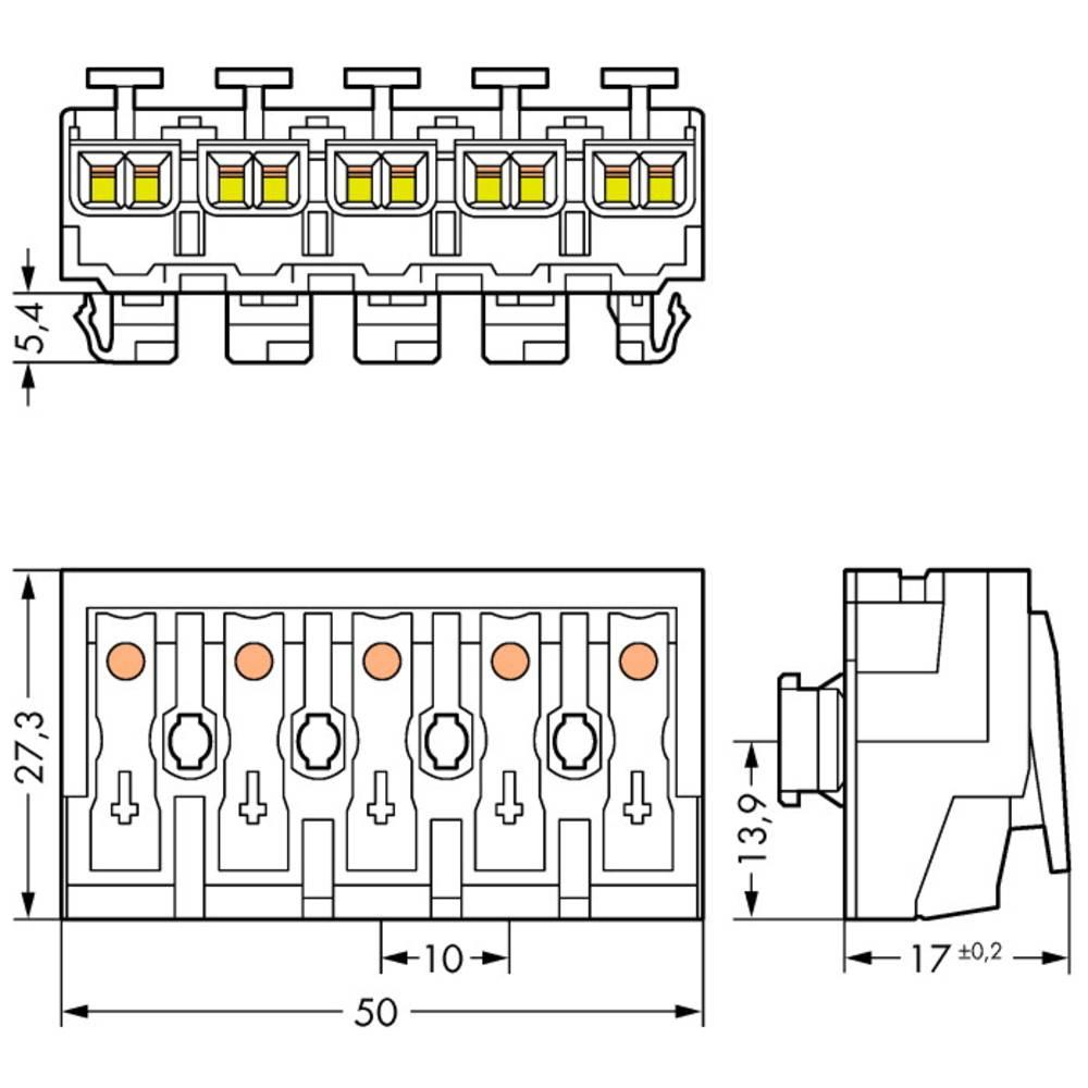 Strømtilslutningsklemme ATT.CALC.CROSS_SECTION_FLEXIBLE: - ATT.CALC.CROSS_SECTION_RIGID: 0.5-2.5 mm² Poltal: 5 WAGO 294-8015 250
