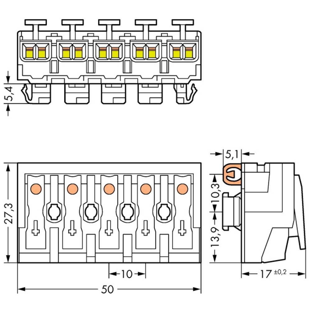 Strømtilslutningsklemme ATT.CALC.CROSS_SECTION_FLEXIBLE: - ATT.CALC.CROSS_SECTION_RIGID: 0.5-2.5 mm² Poltal: 5 WAGO 294-8115 250