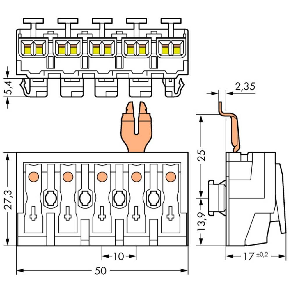 Strømtilslutningsklemme ATT.CALC.CROSS_SECTION_FLEXIBLE: - ATT.CALC.CROSS_SECTION_RIGID: 0.5-2.5 mm² Poltal: 5 WAGO 294-8315 250