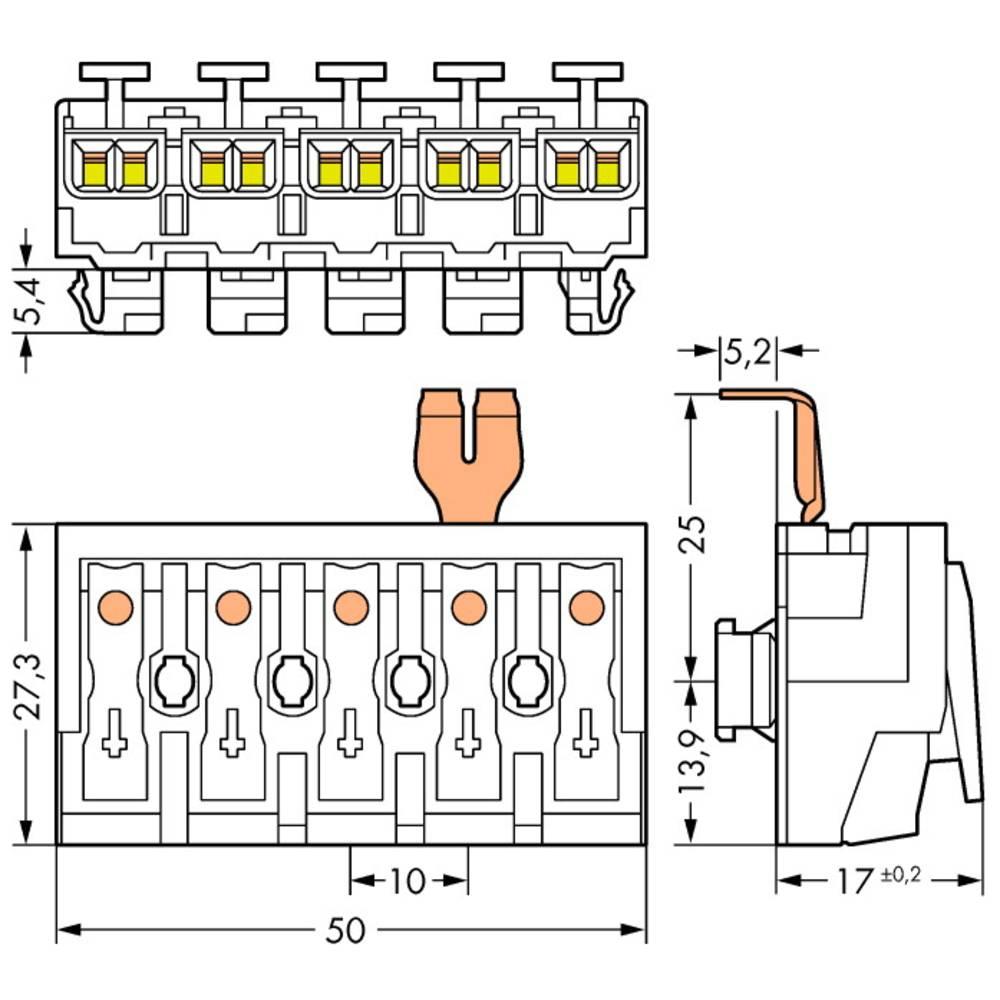 Omrežna priključna sponka, toga: 0.5-2.5 mm št. polov: 5 WAGO 294-8215 250 kos bela