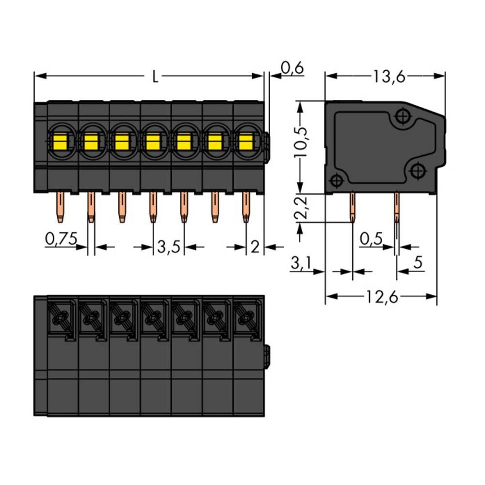 Fjederkraftsklemmeblok WAGO 1.50 mm² Poltal 4 Sort 320 stk