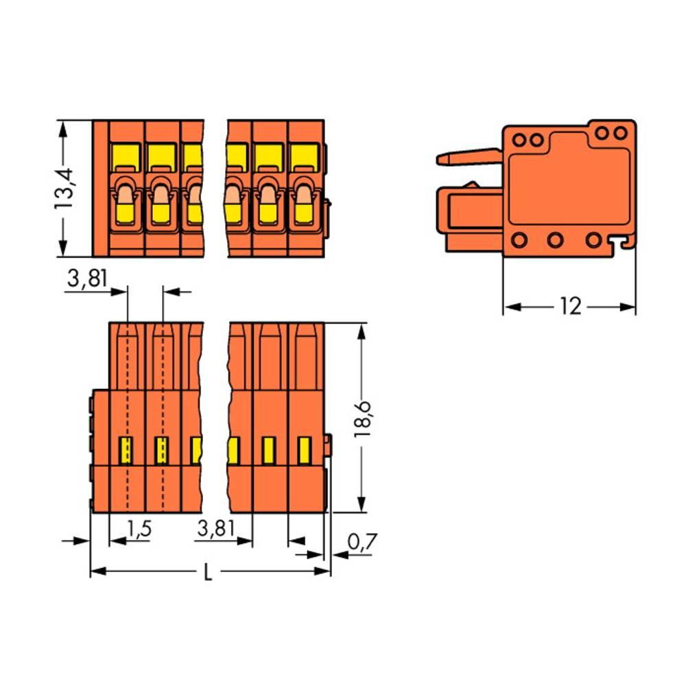 Tilslutningskabinet-kabel 734 (value.1360959) Samlet antal poler 19 WAGO 734-219 Rastermål: 3.81 mm 25 stk