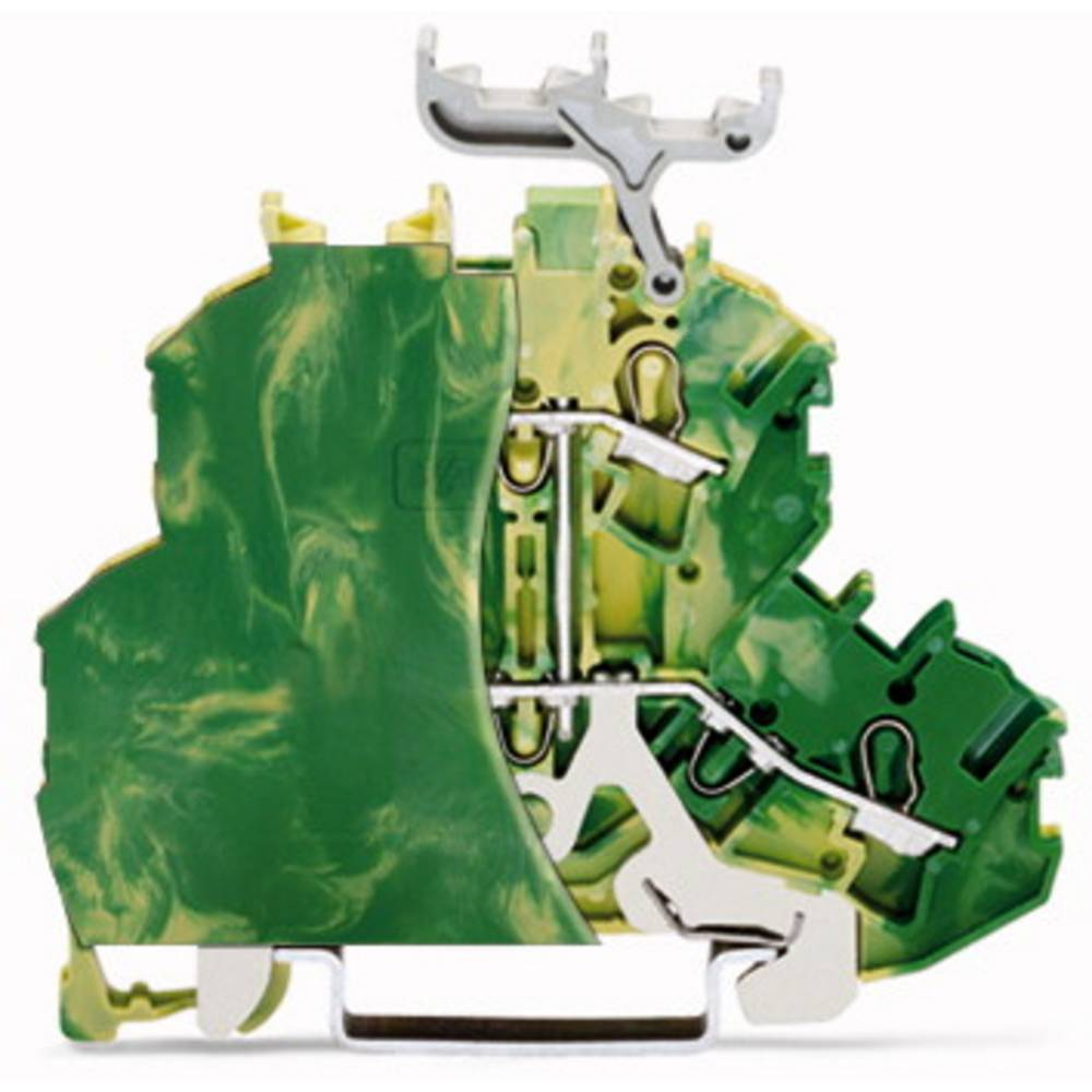 Dobbeltlags-beskyttelseslederklemme 6.20 mm Trækfjeder Belægning: Terre Grøn-gul WAGO 2002-2207/099-000 50 stk