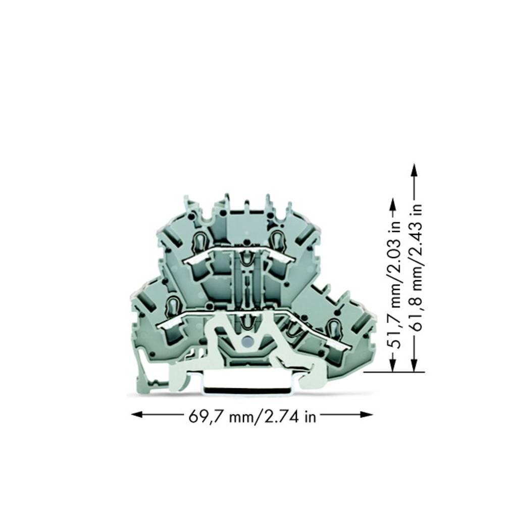 Dobbeltlags-gennemgangsklemme 5.20 mm Trækfjeder Belægning: L Grå WAGO 2002-2228 50 stk